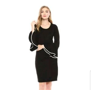 Calvin Klein Bell Pipe Sleeve Sweater Dress Black